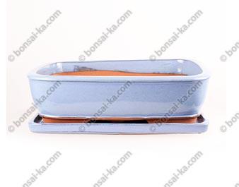 Pot à bonsaï rectangle en grès émaillé bleu clair avec soucoupe 370x290x95mm