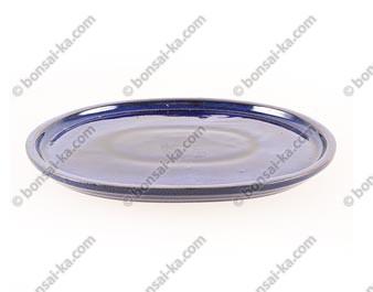 Soucoupe emaillée bleue ovale pour bonsai 265x215x15mm