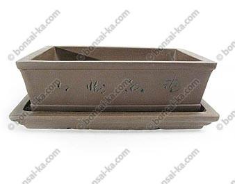 Pot à bonsaï rectangle en grès décoré avec soucoupe 250x190x80mm