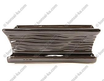 Poterie rectangulaire brun foncé avec soucoupe 210x150x70mm (PM)