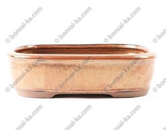 Pot à bonsaï rectangle en grès émaillé rouille 215x160x60mm