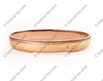 Poterie ovale en grès de Yixing émaillé rouille 260x185x40mm