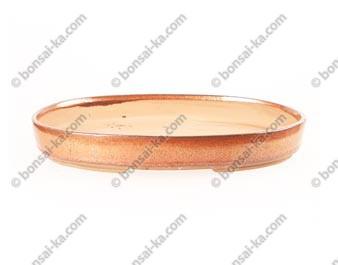 Poterie ovale en grès de Yixing émaillé rouille 310x215x45mm