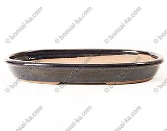 Poterie ovale en grès de Yixing émaillé 260x165x35mm