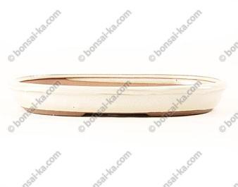 Poterie ovale en grès de Yixing émaillé crème 310x205x35mm