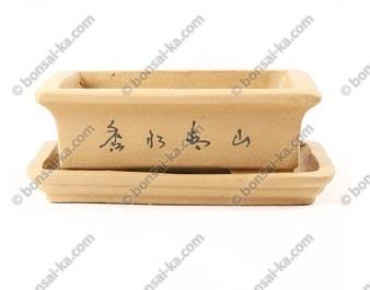 Pot à bonsaï rectangulaire en grès décoré avec soucoupe 170x125x55mm