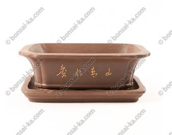 Pot à bonsaï rectangulaire en grès décoré avec soucoupe 195x155x60mm