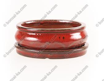 Pot à bonsaï rectangle en grès émaillé sang de boeuf avec soucoupe 160x130x50mm