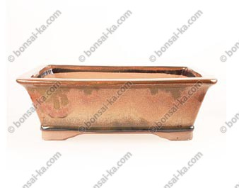 Poterie rectangle en grès de Yixing émaillé rouille 320x250x100mm
