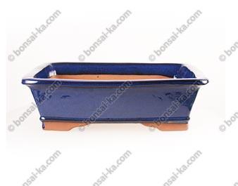 Poterie rectangulaire en grès de Yixing émaillé bleu 370x290x110mm