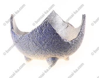 Pot coquille artisanal japonais en grès émaillé ingélif pour kusamono 100x100x70 mm