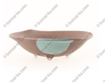 Pot à kusamono rond japonais en grès 180x50mm