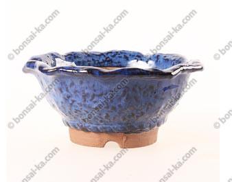 Poterie ronde semi-cascade en grès de Yixing émaillée bleue 170x80mm