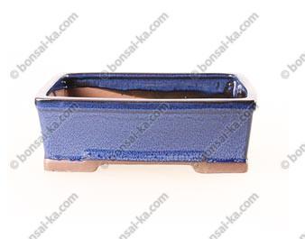 Poterie rectangle en grès de Yixing émaillé bleu 215x150x70mm
