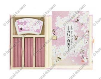 Coffret japonais d'encens d'exception 3 senteurs Cerisiers en fleurs Shiawaze