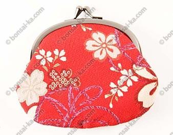 Porte-monnaie japonais en tissu Chirimen rouge