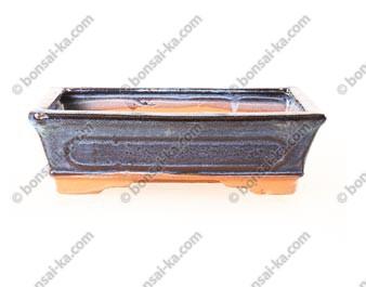 Pot à bonsaï rectangle en grès émaillé bleu 240x160x75mm