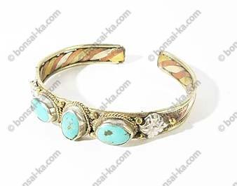 Bracelet Tibétain 3 metaux 3 turquoises