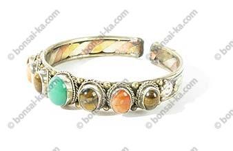 Bracelet Tibétain 3 métaux 7 pierres semi-précieuses