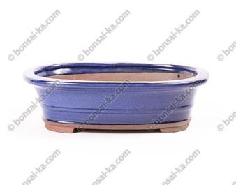 Pot à bonsaï ovale en grès émaillé bleu 245x190x65mm