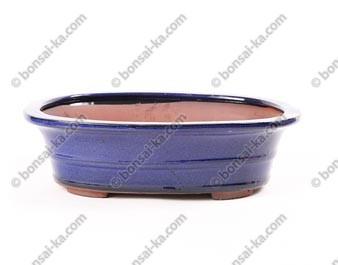 Pot à bonsaï ovale en grès émaillé bleu 290x230x80mm