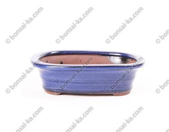 Pot à bonsaï ovale en grès émaillé bleu 145x110x40mm
