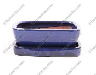 Pot à bonsaï rectangle en grès émaillé bleu avec soucoupe 145x115x50mm
