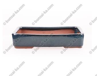 Poterie rectangulaire en grès de Yixing émaillé bleu nuit 240x190x50mm