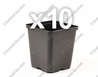 Pot carré polypropylène 90x90x100mm - Lot de 10