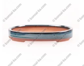Pot à bonsaï ovale en grès émaillé bleu-vert 230x175x35mm