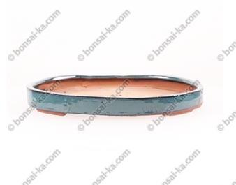 Pot à bonsaï ovale en grès émaillé bleu-vert 295x225x35mm