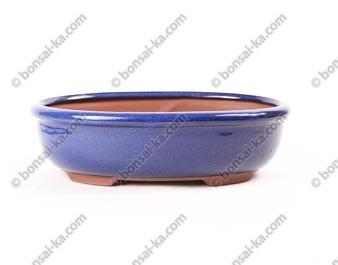 Pot à bonsaï ovale en grès émaillé bleu 245x180x70mm
