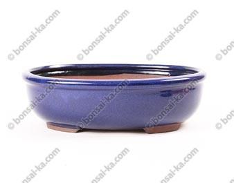 Pot à bonsaï ovale en grès émaillé bleu 285x220x80mm