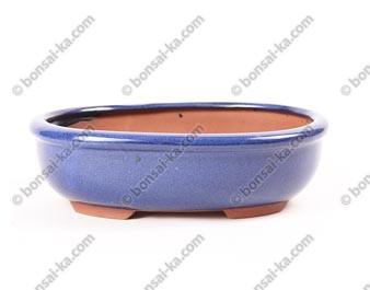 Pot à bonsaï ovale en grès émaillé bleu 190x150x55mm