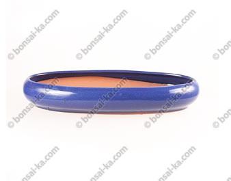 Pot à bonsaï ovale en grès émaillé bleu 350x170x55mm