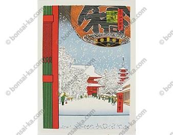 Ukiyo-e Temple Kinryusan à Asakusa- Hiroshige Ando - 21x30 cm