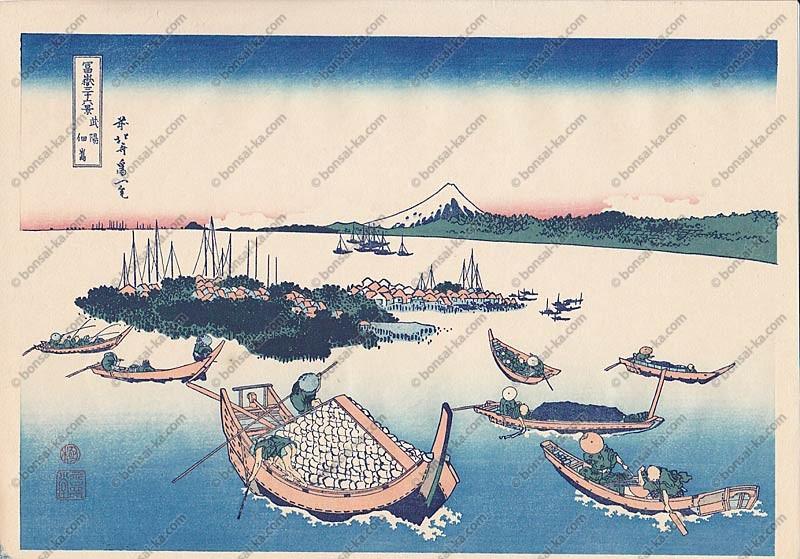 Estampe Japonaise Hokusai 36 vues du mont Fuji - Tsukuda