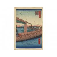 Estampe japonaise de Hiroshige 100 vues d'Edo temple Kinryusan