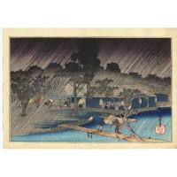 Estampe japonaise de Hiroshige Averse au crépuscule