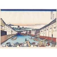 Estampe Japonaise Hokusai 36 vues du mont Fuji - Nihon-Bashi
