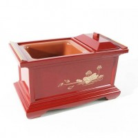 Brûle-encens de cérémonie japonais en laque rouge